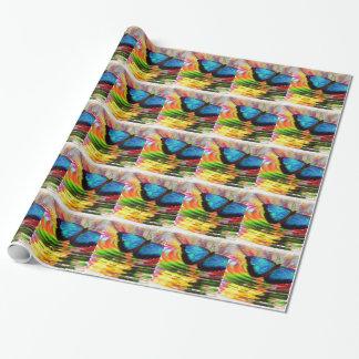 Schön Sehen-Durch blauen Schmetterling im Geschenkpapier