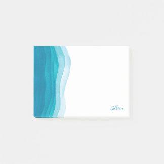 Schöne aquamarine Watercolor-Wellen Post-it Klebezettel