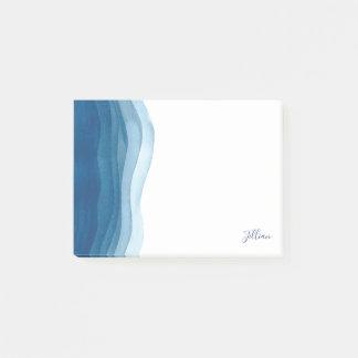 Schöne blaue Aquarell-Wellen Post-it Klebezettel
