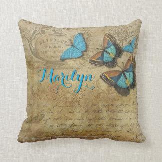 Schöne blaue Schmetterlings-Retro viktorianischer Kissen