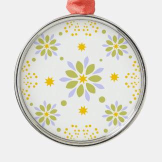 Schöne Blumen und Sterne Silbernes Ornament