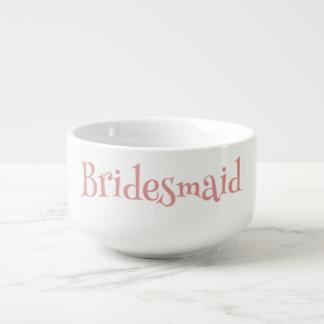 Schöne Brautjungfern-grafisches rosa und Weiß Große Suppentasse
