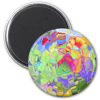 Schöne bunte abstrakte Kunst-Eis-Würfel-Geschenke Runder Magnet 5,1 Cm