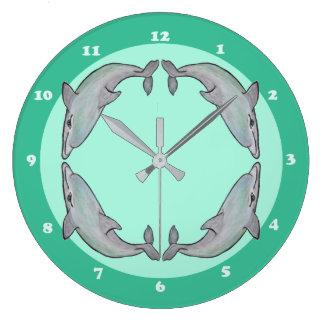 Schöne Delphine in der Wasserfarbe-Uhr Große Wanduhr