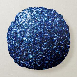Schöne dunkelblaue Glitter-Glitzern Rundes Kissen