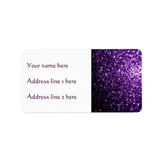 Schöne dunkle lila Glitter-Glitzern Adressetikett