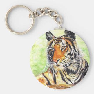 schöne entspannende Tiger-Wasserfarbe Schlüsselanhänger