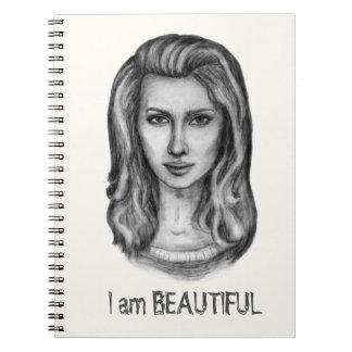 Schöne Frau. Bleistiftzeichnungen Notizblock