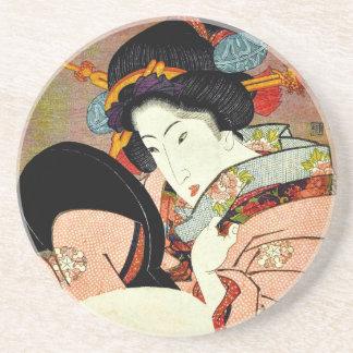 Schöne Frau im Spiegel durch Utagawa Kunimaru Sandstein Untersetzer