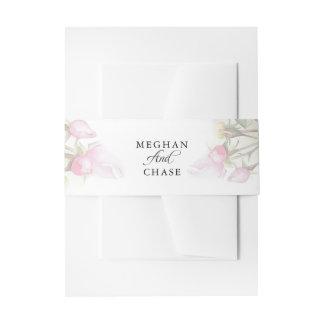 Schöne gemalte rosa Rosen BarefootBride™ Einladungsbanderole