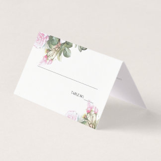 Schöne gemalte rosa Rosen BarefootBride™ Platzkarte
