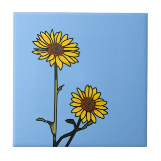 Schöne goldene Buntglas-Sonnenblumen Kleine Quadratische Fliese