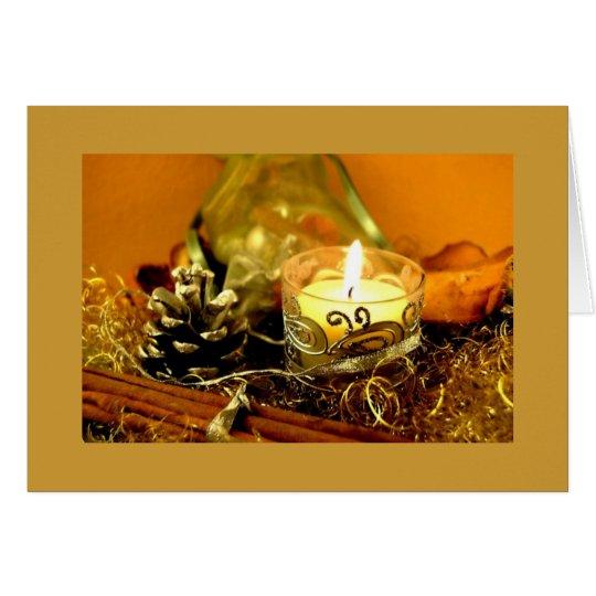 Schöne goldene Kerzen-Weihnachtskarte Karte