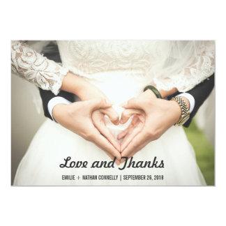 Schöne Hochzeits-Paar-Foto-Liebe und Dank 12,7 X 17,8 Cm Einladungskarte