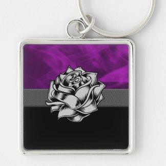 Schöne lila Grunge-Rose Schlüsselanhänger