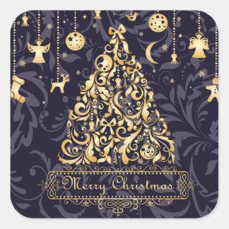 Schöne lila und goldene Weihnachtsverzierungen Quadratischer Aufkleber