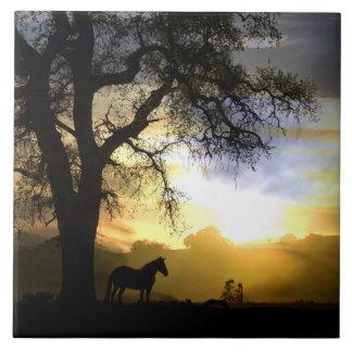 Schöne Pferde-und Eichen-Kunst-Fliese Große Quadratische Fliese