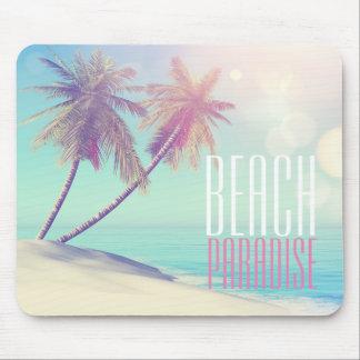 Schöne Retro Strand-Paradies-Palme | Mousepad