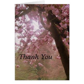 Schöne rosa Baum-Blüte danken Ihnen zu kardieren Karte