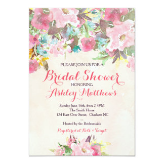 Schöne rosa BlumenBabyparty-Einladung, Baby Karte