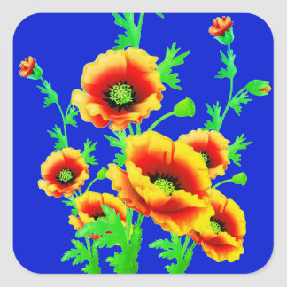 Schöne rote Mohnblumen auf kontrastierendem Quadratischer Aufkleber