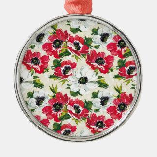 Schöne rote und weiße Mohnblumen auf Sahnegelb Silbernes Ornament