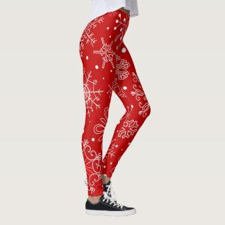 Schöne Schneeflocken auf rotem Leggings