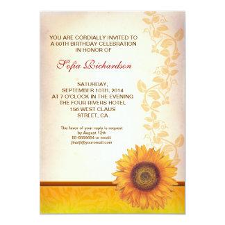 schöne Sonnenblumeblüten-Geburtstagseinladungen 12,7 X 17,8 Cm Einladungskarte