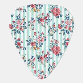 Schöne trendy girly Vintage Rosen der blauen Gitarren-Pick