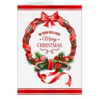 Schöne u. elegante WeihnachtsKranz-Gruß-Karte Karte