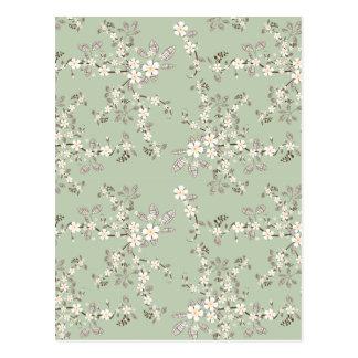 Schöne Vintage Baumblüten-Weiß-Blumen Postkarte