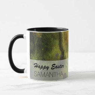 Schöne Vintage Kaninchen-Waldszene Ostern Tasse