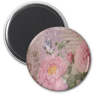 Schöne Vintage rosa und blaue Rosen und Blumen Runder Magnet 5,7 Cm