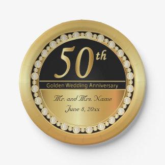 Schöner 50. goldener Hochzeitstag Pappteller