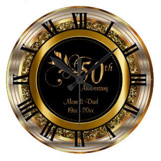 Schöner 50. goldener Jahrestag Große Wanduhr