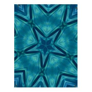Schöner Aquamarine-sternförmiges Mandela-Muster Postkarte