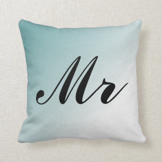 Schöner blauer und weißer Steigungs-Herr und Frau Kissen