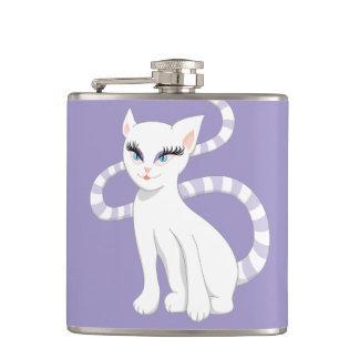 Schöner Cartoon-niedliche weiße Katze Flachmann
