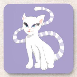 Schöner Cartoon-niedliche weiße Katze Getränkeuntersetzer