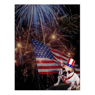 Schöner Feuerwerks-Feier-Bulldoggen-Entwurf Postkarte