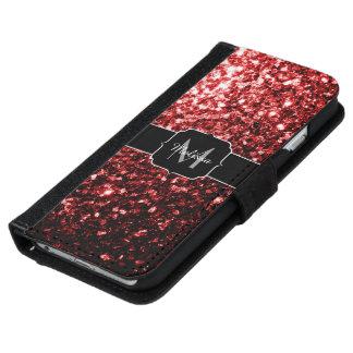 Schöner Glamour-rotes Glitter-Glitzern Monogramm iPhone 6/6s Geldbeutel Hülle