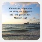 SCHÖNER MATTHEW-11:28 SCHRIFTS-VERS QUADRATISCHER AUFKLEBER