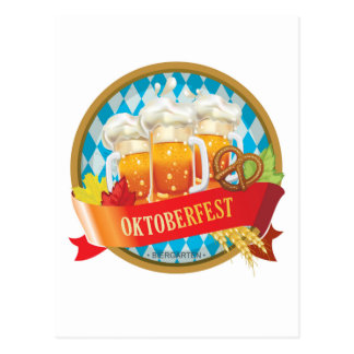Schöner Oktoberfest Aufkleber mit Bier Postkarte