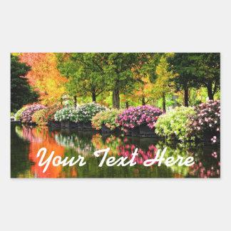 Schöner Park-bunter Blumen-Herbst-Baum-Teich Rechteckiger Aufkleber