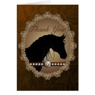 Schöner PferdeSilhouette-Western danken Ihnen zu Grußkarte