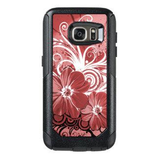 Schöner roter Blumen-Strudel abstrakte vectror OtterBox Samsung Galaxy S7 Hülle