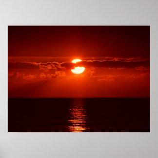 Schöner roter Sonnenuntergang Posterdruck