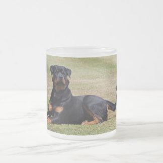 Schöner Rottweiler HundeglasTasse, Geschenkidee Mattglastasse