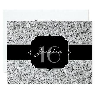 Schöner silberner Glitter-Glitzern Bonbon 16 laden Karte
