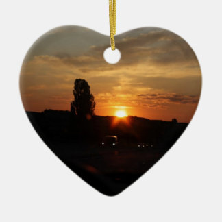 Schöner Sonnenuntergang Keramik Herz-Ornament